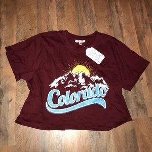 Colorado Mountain Burgundy / Maroon Crop Tee Shirt